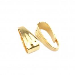 Lot de 2 Bélières en Plaqué Or 24 carats 8 x 3 mm Pour chaine ou cordon Spécial création de bijoux pour pendentifs et colliers