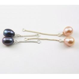 Perle d'eau douce - Lot de 2 paires Montage chainette préparation pour boucle d'oreille - Lavande et Noire