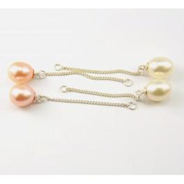 Perle d'eau douce - Lot de 2 paires Montage chainette préparation pour boucle d'oreille - Blanche et Pêche