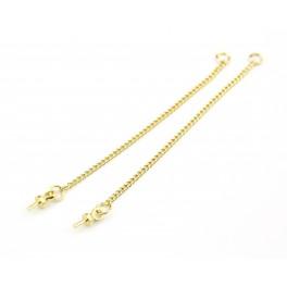 Chainettes fines en Plaqué Or 24 carats Longueur 50 mm Pour pendentif boucle d'oreille Avec bélière pour perle semi percée