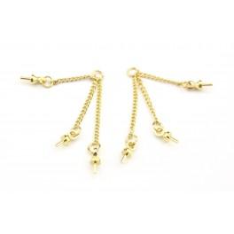 Triple chainettes fines avec Bélières en Plaqué Or 24 carats Pour perle semi percée pour boucle d'oreille et pendentif