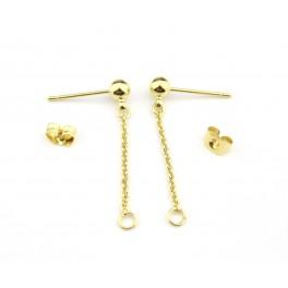 Boucle d'oreille Tige boule et chainette en Plaqué Or 24 carats Kit pendentif avec poussoirs adaptés Tige boule 4mm