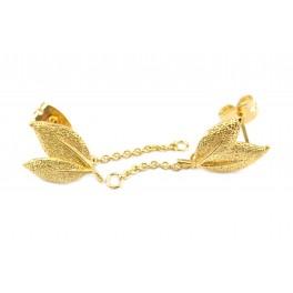 Boucle pendentif d'oreille Tige en Plaqué Or 24 carats Forme feuille Poussoirs adaptés Anneau pour réaliser vos bijoux