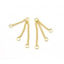 Paire de Triple chainettes fines en Plaqué Or 24 carats Double pendentif Appret de bijouterie pour creer des boucles d'oreille