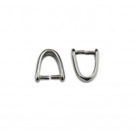 Lot de 2 Bélières en Plaqué Rhodium Noir 10 x 8 mm Pour pendentif percé chaine ou cordon Creation de pendentif et collier