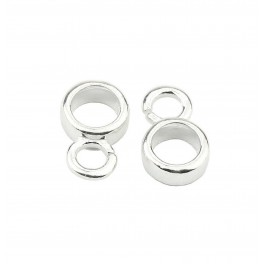 925 Solid Sterling Silver Set of 2 round necklace Bails for Pendant Findings for jewelry making