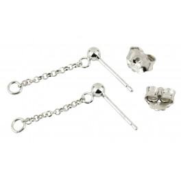 Clou d'oreille chainette en Argent Massif 925 Chaine pendentif 15 mm avec poussoir Appret pour les créateurs de bijoux
