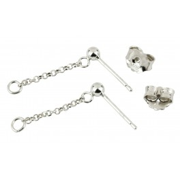 Stud ball with Chain Pair of Earrings 925 Solid Sterling Silver Pendant chain 15 mm Ear nuts Findings for jewelry designer