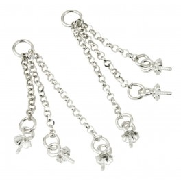 Pair of Triple Chain 925 Solid Sterling Silver With bails for half drilled pearl Findings for jewelry making Pendant earrings