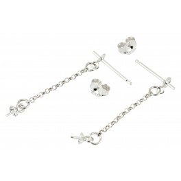 Pair of Earrings Stud with cup 925 Solid Sterling Silver Chain pendand with Bails for half drilled pearl Jewelry findings