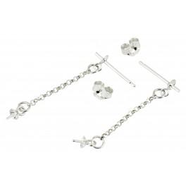 Tige et Chainette pendentif en Argent Massif 925 Avec bélière pour perle semi percée et poussoir Appret de bijouterie