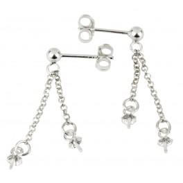 Boucle d'oreille Clou tige et poussoirs en Argent Massif 925 Double chainette pendentif Bélière pour perle semi-percée
