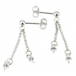 Stud Ball 925 Solid Sterling Silver Pair of Earrings  and double Chain pendand with Bails for half drilled pearl