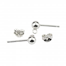 925 Solid Sterling Silver Rhodium plated Pair of Earrings stud Ball 4mm with soldered ring and Ear nuts For jewelry makers