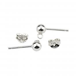 Boucle d'oreille Tige clou boule en Argent Massif 925 Rhodié Poussoirs adaptés Boule 4mm anneau soudé
