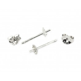 Pair of Earrings Studs 925 Solid Sterling Silver Rhodium plated Flower cup for half drilled pearl Jewelry findings