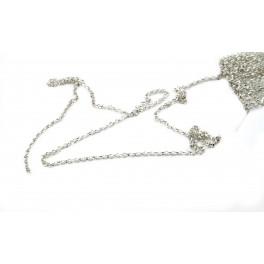 Chaine 50 centimètres en Argent Massif 925 Rhodié maille fine 1,4 mm Appret spécial création de bijoux