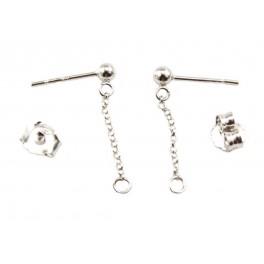 Clou d'oreille chainette en Argent Massif 925 Rhodié Chaine pendentif 15 mm avec poussoir Appret de bijouterie