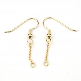 Plaqué Or 18 carats 750‰  - Paire de Boucles d'oreille Crochet et chainette