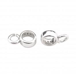 Lot de 2 Bélières rondes en Argent Massif 925 Rhodié Pour chaine ou cordon Spécial création de bijoux pour pendentif et collier