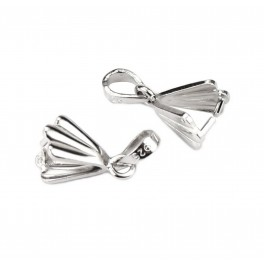 Set of 2 Pinch Bails 925 Sterling Silver Rhodium plated For pendant and necklace Craft findings for designer