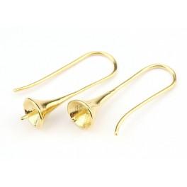 Boucle d'oreille Crochet en Plaqué Or 24 carats Cône pour perle semi percée Appret de bijouterie pour les créateurs de bijoux