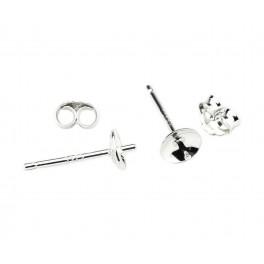 Clou d'oreille en Argent Massif 925 Rhodié Coupelle lisse 5mm Pour perle semi percée Pour création de boucle d'oreille