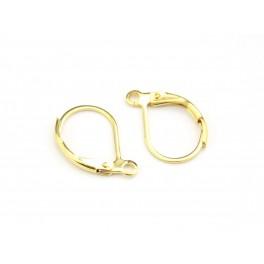 Boucle d'oreille Dormeuse en Plaqué Or 24 carats Anneau pour chainette pendentif Pour création de boucle d'oreille