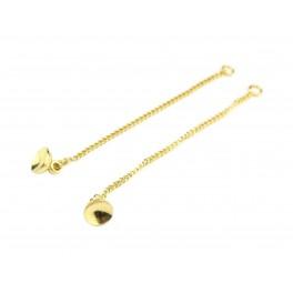 Chainettes fines en Plaqué Or 24 carats 50 mm Avec Bélière coupelle lisse 6 mm pour perle bille ou bulle à coller