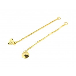 Pair of thin chain 50 mm 24K Gold Plated For pendant earrings With bail 6 mm to fix pearl ball or bubble with glue