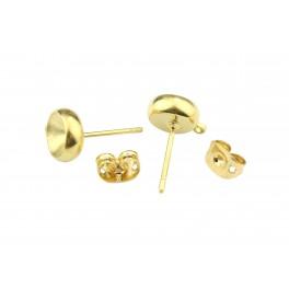Boucle d'oreille Tige clou en Plaqué Or 24 carats Pour cristal rivoli 6 mm Avec poussoirs adaptés Anneau soudé
