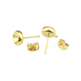 Pair of Earrings Stud 24K Gold Plated For rivoli crystal 6 mm With soldered ring for pendant and Ear nuts