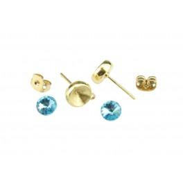Kit Clou d'oreille Plaqué Or 24 carats Avec cristal rivoli 6 mm Bleu Poussoirs adaptés Anneau soudé