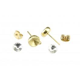 Kit Clou d'oreille Plaqué Or 24 carats Avec cristal rivoli 6 mm BlancPoussoirs adaptés Anneau soudé