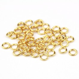 18KGP Gold Plated 750 ‰ - Set of 2 round spring Clasp with open Rings and Blade