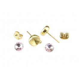 Kit Clou d'oreille Plaqué Or 24 carats Avec cristal rivoli 6 mm Rose Poussoirs adaptés Anneau soudé