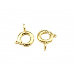 Set of 2 round Spring Clasp with open rings 24KGP Gold Plated 6 mm Jewelry findings to create bracelet and necklace