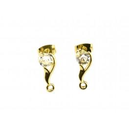 Boucle d'oreille Tige avec poussoirs Plaqué Or 24 carats Zircon blanc rond 5 mm Anneau soudé pour ajouter un pendentif