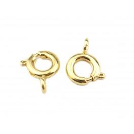 Lot de 2 Fermoirs ronds 7 mm en Plaqué Or 24 carats Appret de bijouterie pour la création de collier Bracelet