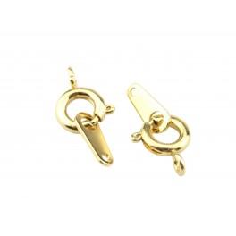 Kit Fermoir Lot de 2 Fermoirs ronds 7 mm Plaqué Or 24 carats Fermoir à ressort et Longue lame Pour la création de bijoux