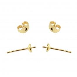 Boucle d'oreille Tige coupelle en Plaqué Or 24 carats Pour perle semi percee Composant de bijouterie artisanal