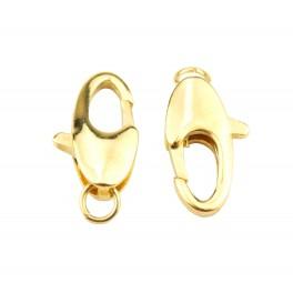Lot de 2 gros fermoirs type mousqueton 14 x 8 mm en Plaqué Or 24 carats Appret de bijouterie pour collier et bracelet