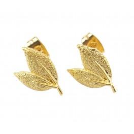 Boucle d'oreille Tige en Plaqué Or 24 carats Forme feuille Poussoirs adaptés Anneau pour réaliser des pendentifs personnalisés
