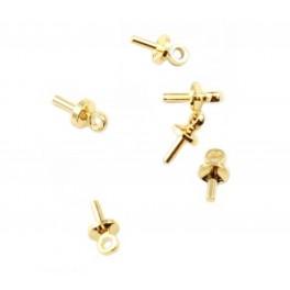 Lot de 5 Bélières en Plaqué Or 24 carats Pour perle semi percée Apprets de bijouterie