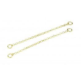 Paire de Chainette 40 mm pendentif en Argent Massif 925 Plaqué Or 24 Ct Avec anneaux d'accroche Pour vos créations