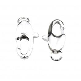 Lot de 2 gros fermoirs type mousqueton 14 x 8 mm Plaqué Rhodium Blanc Appret de bijouterie pour collier et bracelet