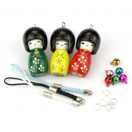 Set of 3 Kokeshi lacquered wood - Pendant Kit -A10