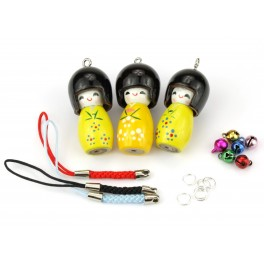 Set of 3 Kokeshi lacquered wood - Pendant Kit -A12