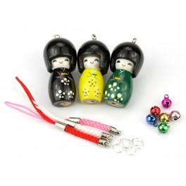 Set of 3 Kokeshi lacquered wood - Pendant Kit -A13