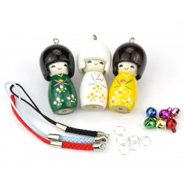 Set of 3 Kokeshi lacquered wood - Pendant Kit -A14